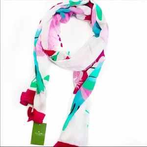 NWT Kate Spade hummingbird oblong scarf floral